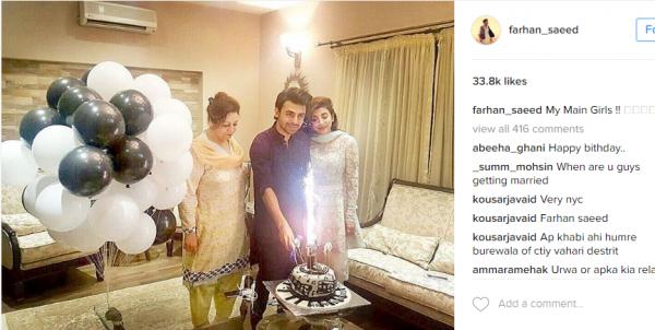 farhan-saeed-birthday-with-urwa Urwa Hocane Farhan Wedding Pics| Nikah Walima Dholki Barat