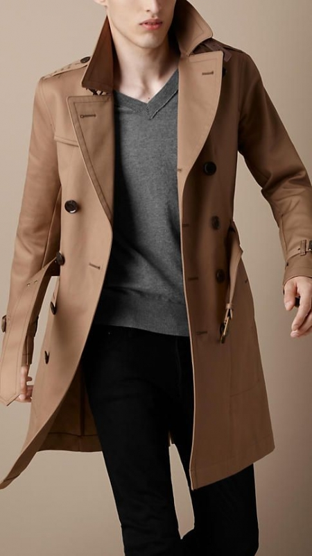 Trench coat over cardigan