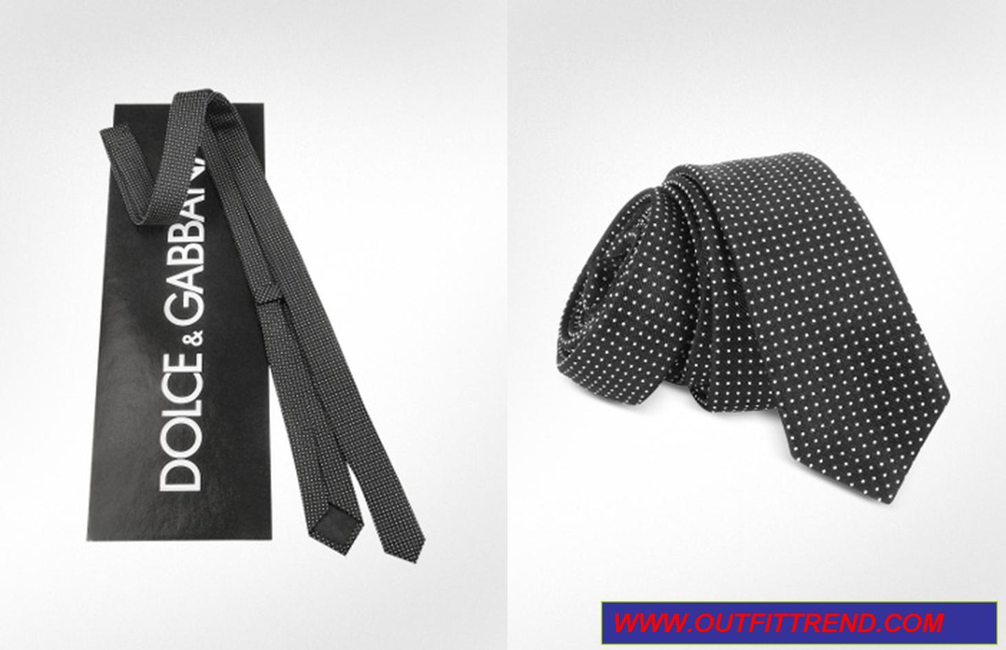 D&G Polkadot Pattern Silk Extra Narrow Tie