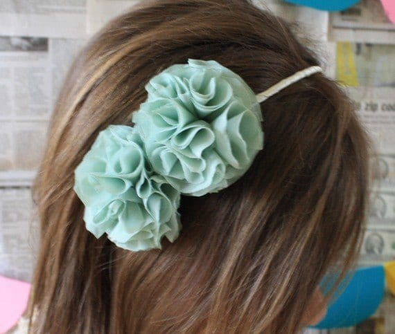 Mint Green Flower Headband