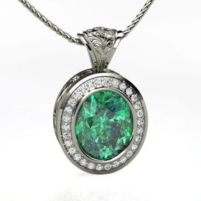 Oval Emerald 14K White Gold necklace