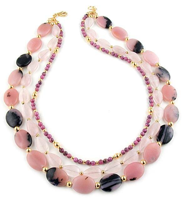 Pink Opal, Rose Quartz & Rhodonite Gemstone Necklace