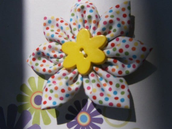 Polka Dot Fabric Flower headband