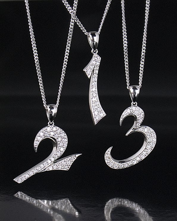 Sterling Silver Number Pendants Necklace