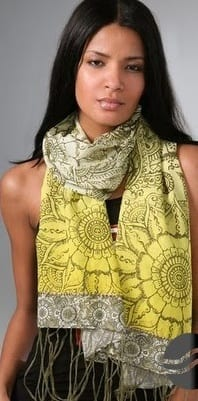 Yellow Printed Scarves for Girls