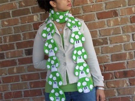 green mushroom scarf