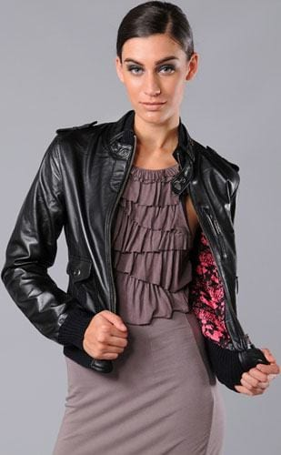 leather-bomber-jacket Stylish Leather Jackets Outfits For women