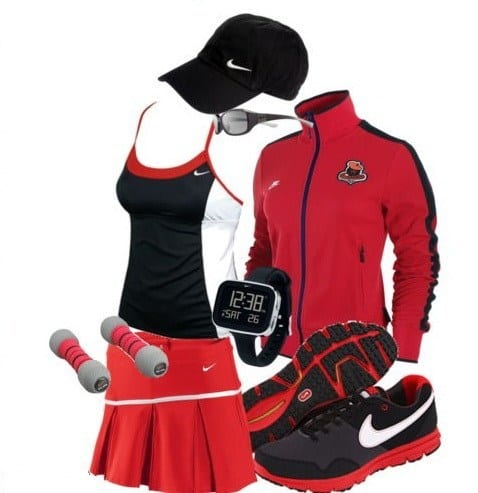 red nike sports wear for girls