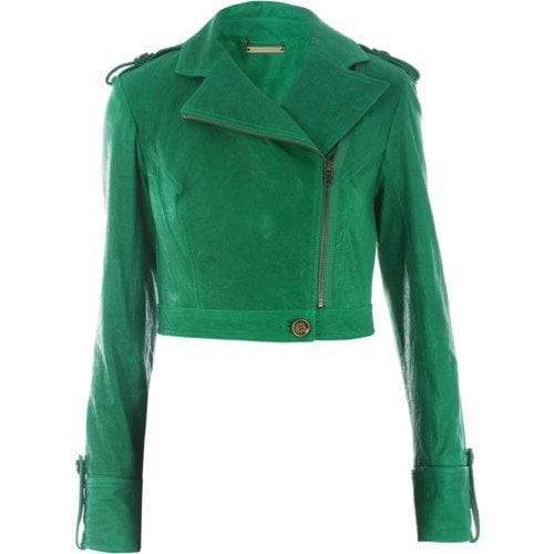 stylish green leather jacket women