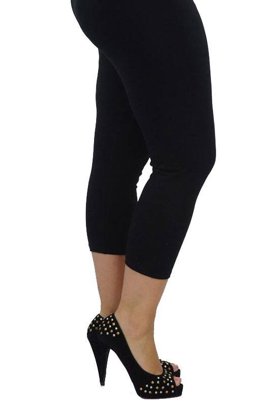 Black Cropped Cotton Leggings Plus Size Women