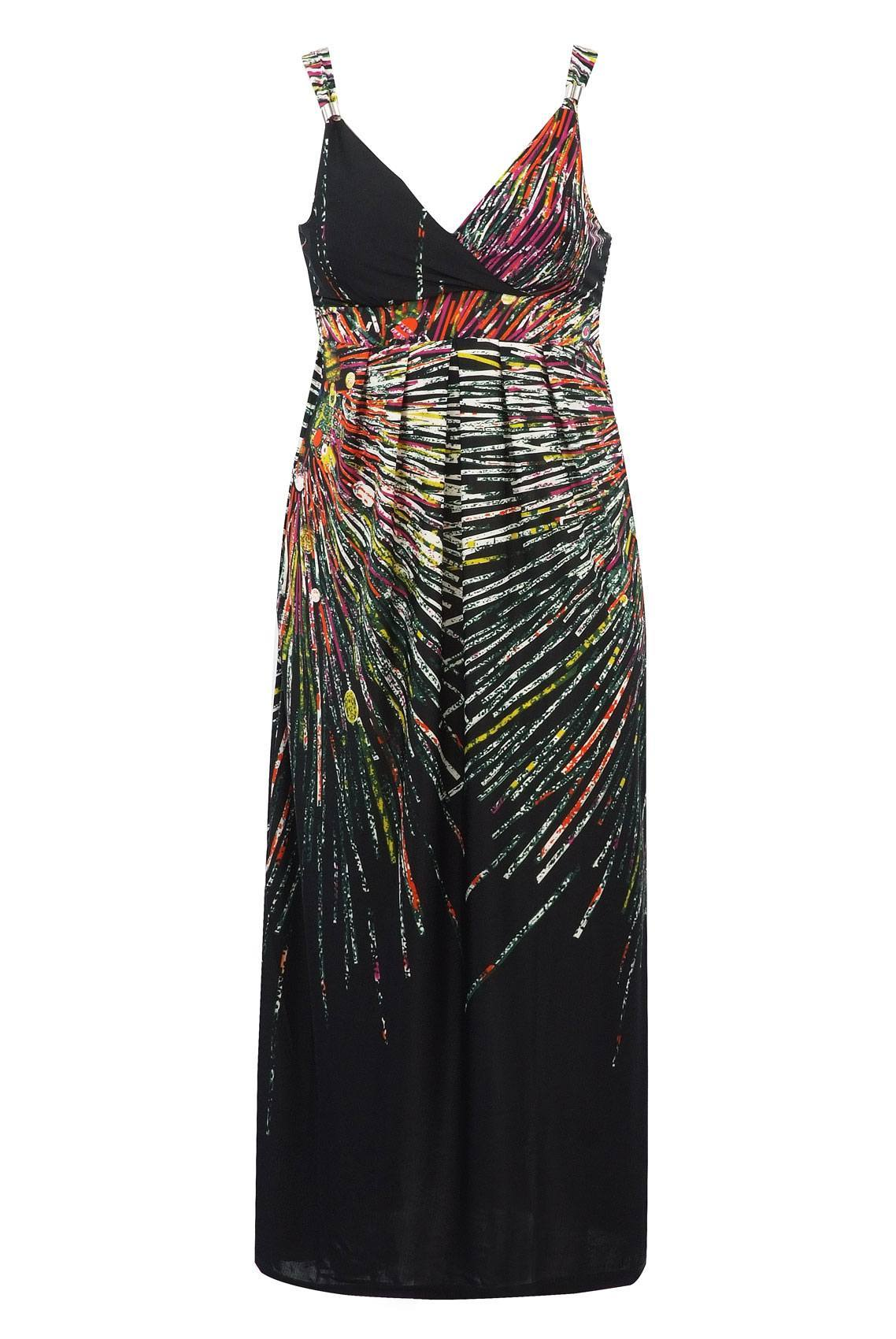 Black Multi Printed Maxi Dress