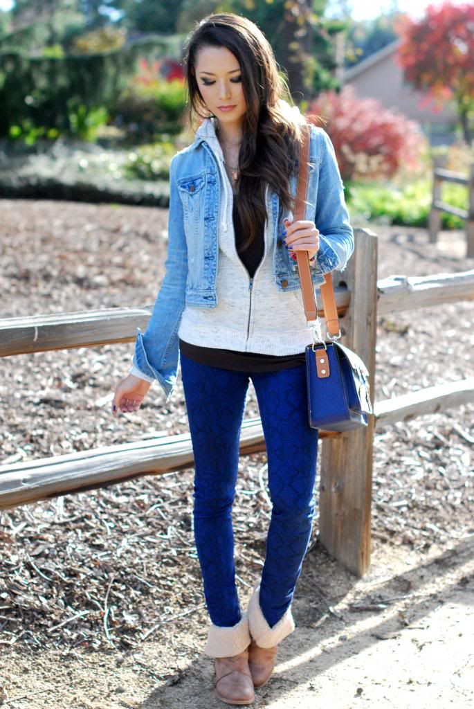 Blue-Denim-Jackets-for-women Outfits with Denim Jacket-20 Ideas How to Wear Denim Jackets