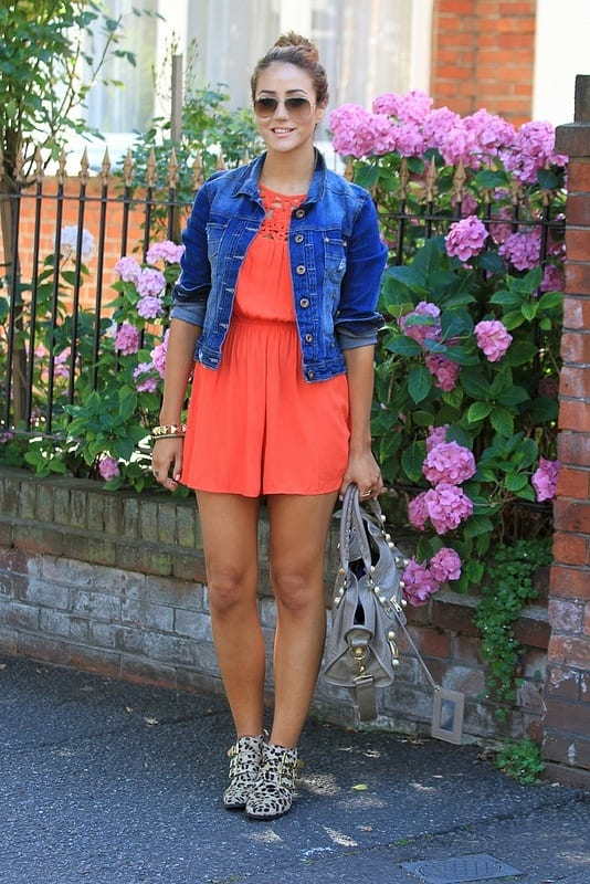 Denim-Jacket-with-Red-Dress Outfits with Denim Jacket-20 Ideas How to Wear Denim Jackets