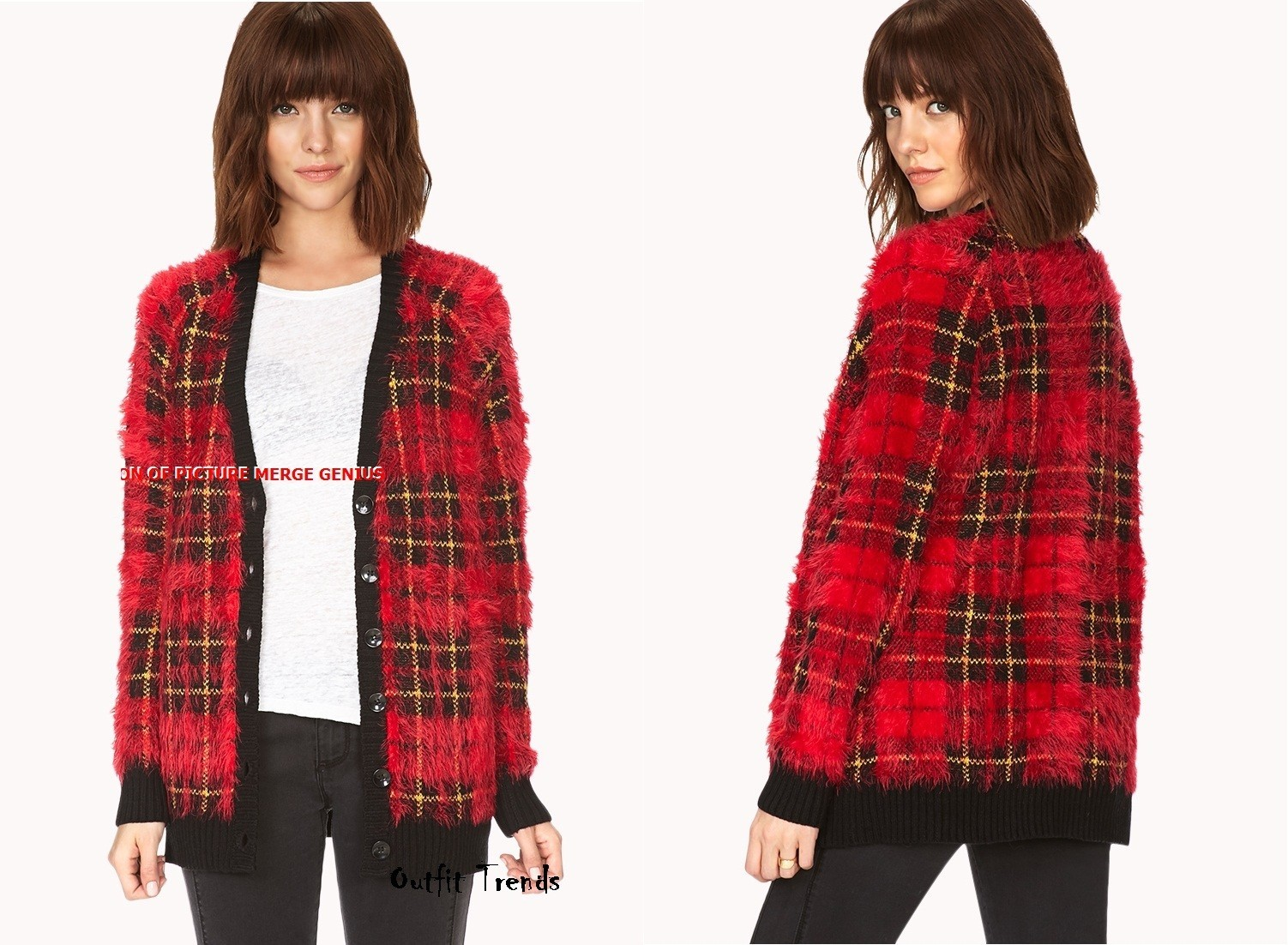 Hot Red Tartan Shag Cardigan
