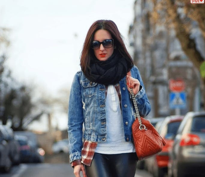 Street style look with denim jackets
