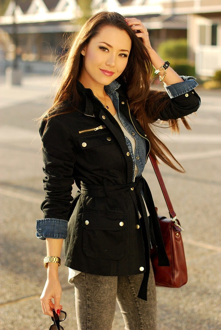 Stylish-looking-Denim-Jackets-for-girls Outfits with Denim Jacket-20 Ideas How to Wear Denim Jackets