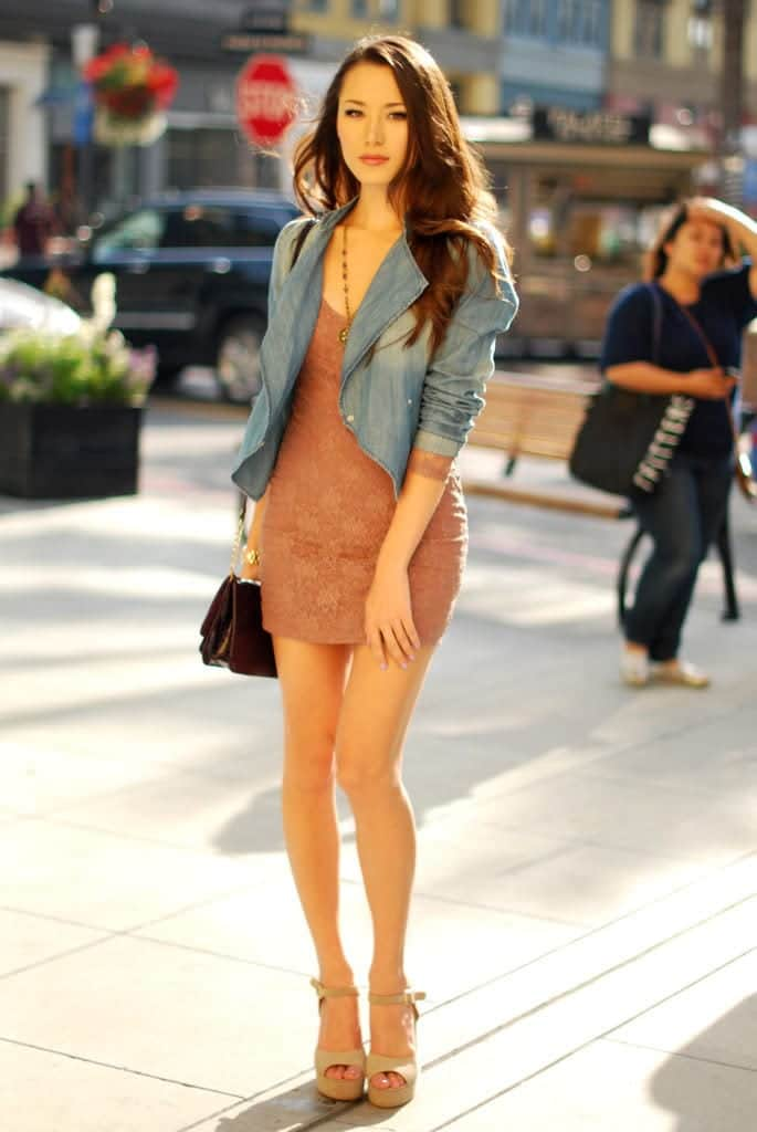 Lace-Dress-with-Denim-Jacket 26 Beautiful Lace Dresses and Ideas how to Wear Them