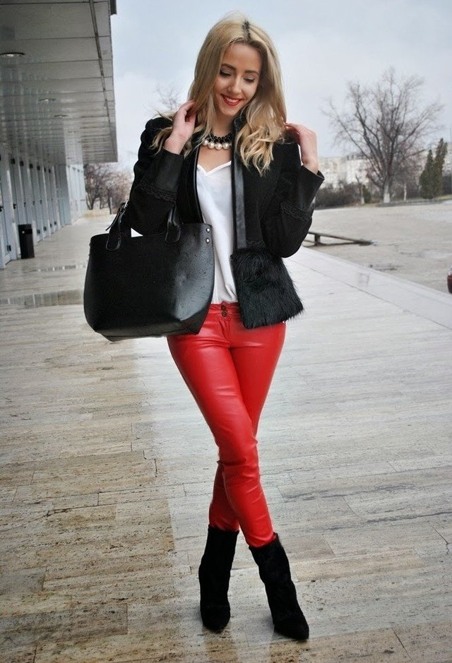 Red leather pants for girls