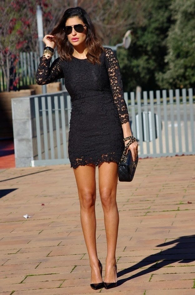 Short Black lace Dresses