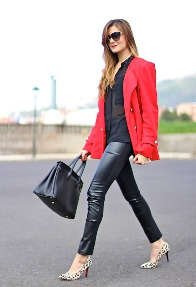 Tight leather pants for women