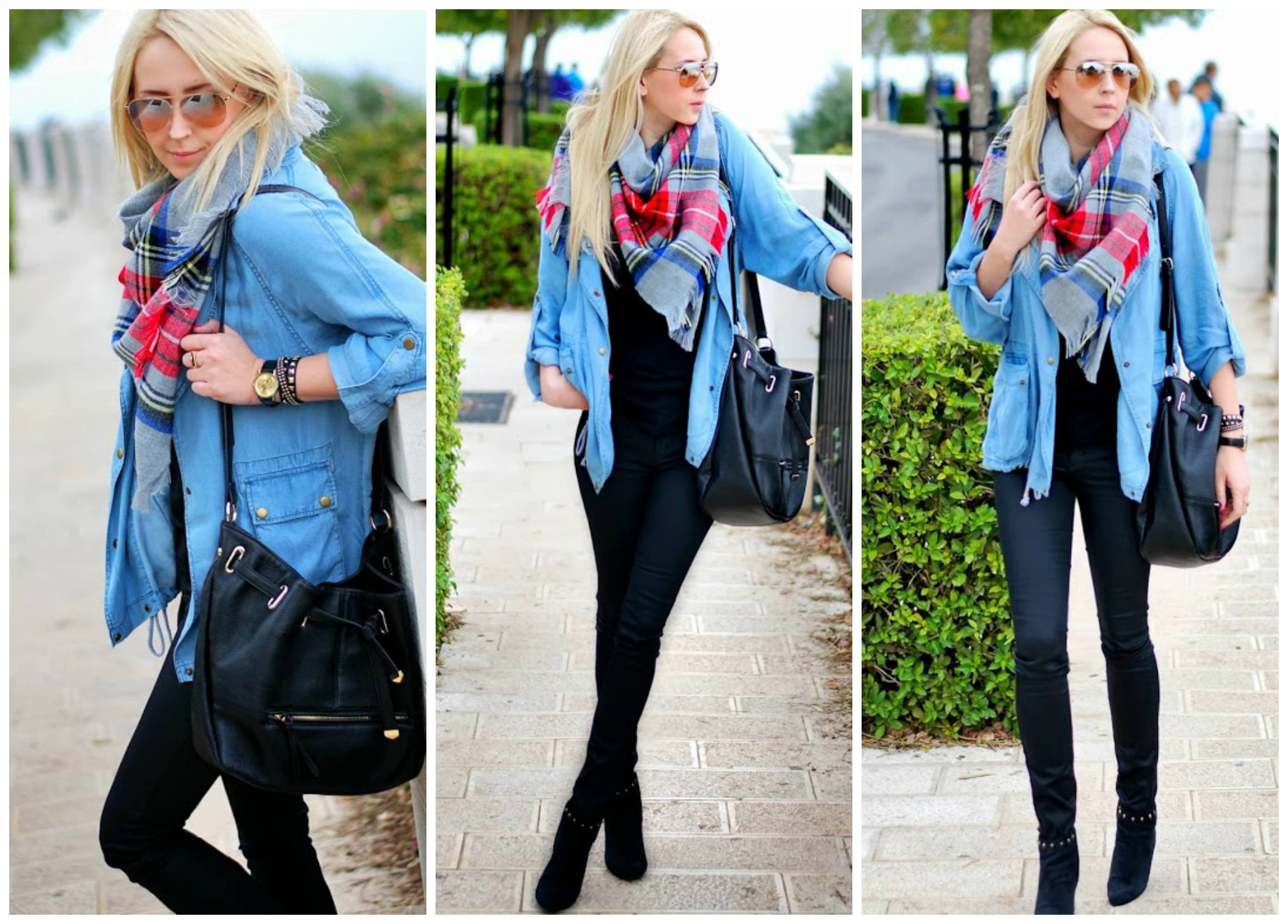 big-scarf-with-denim-jacket Outfits with Scarves-18 Chic Ways to Wear Scarves for Girls