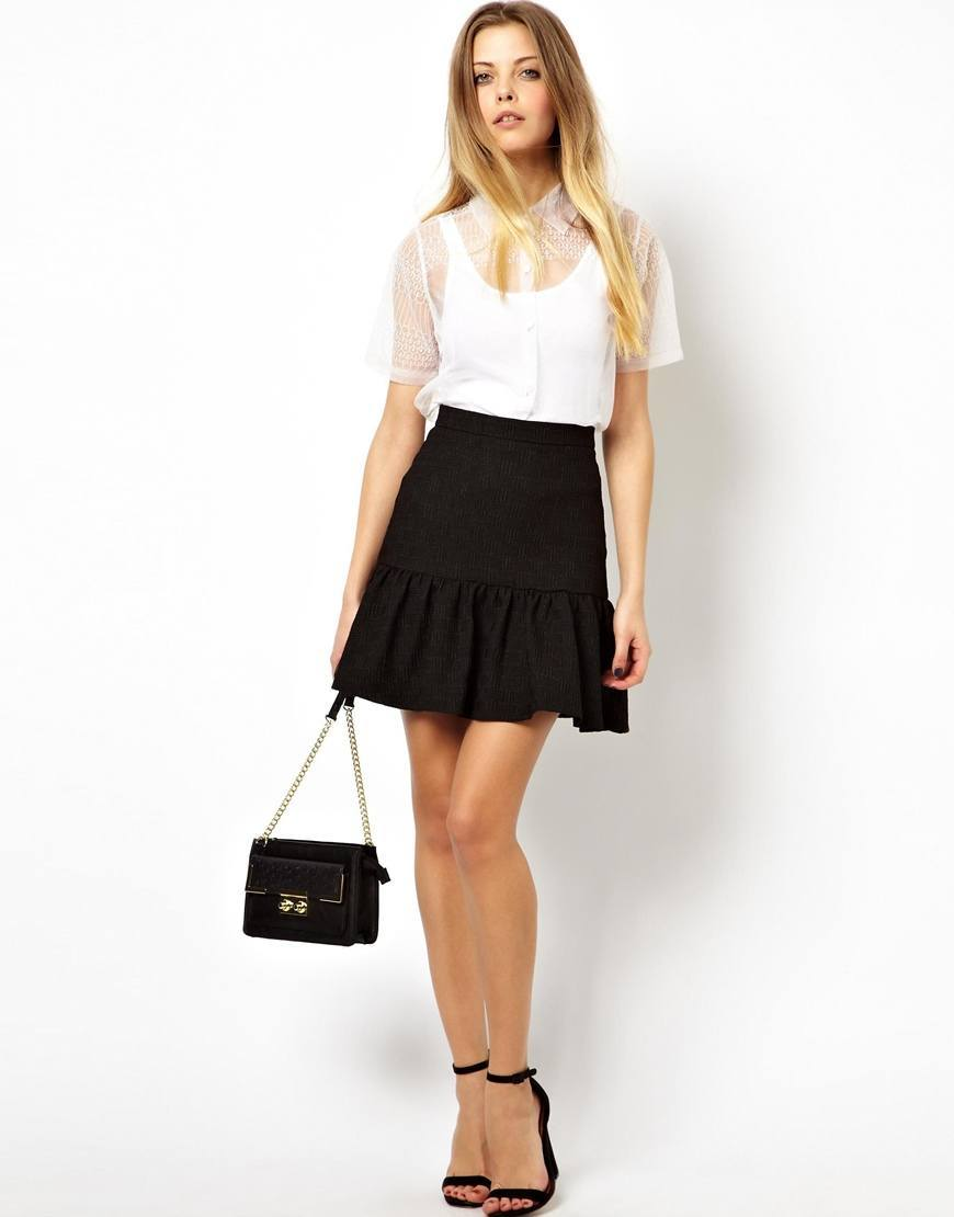 black textured mini skirt for women