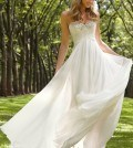 criss cross bodice wedding gown front