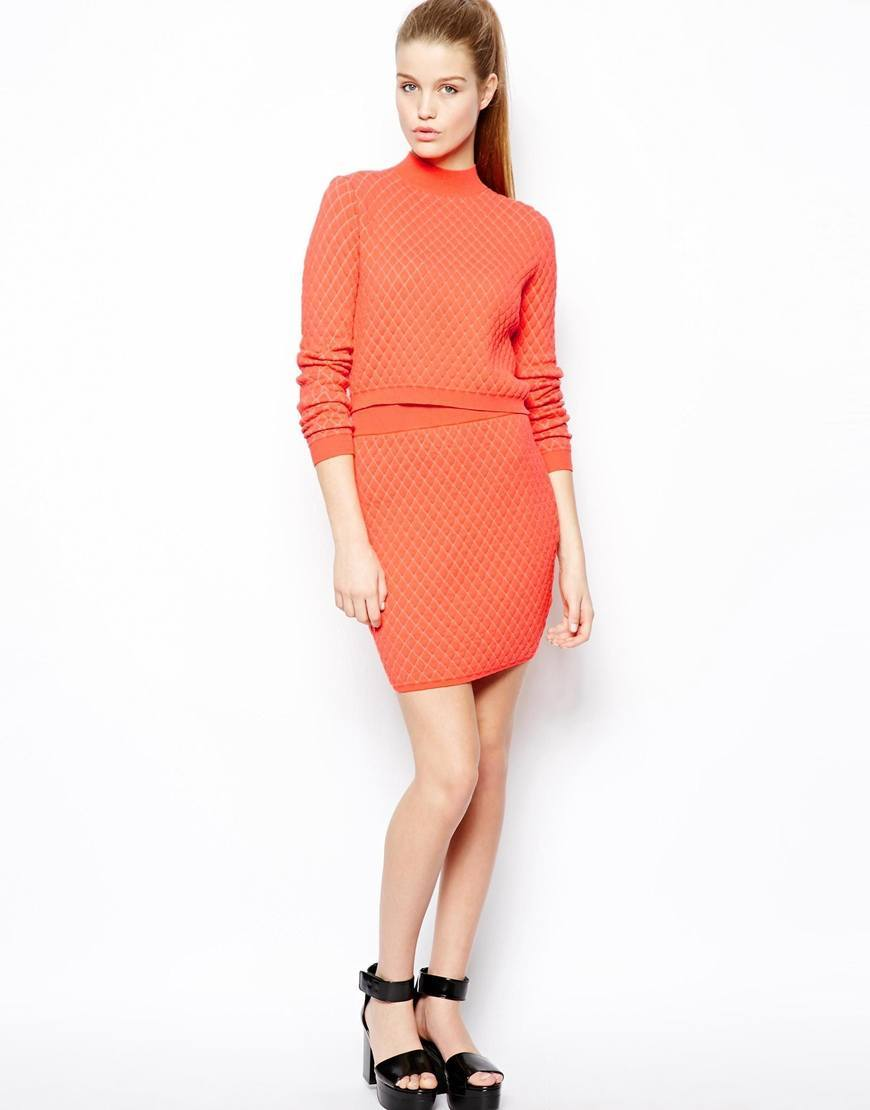 orange mini skirt for women