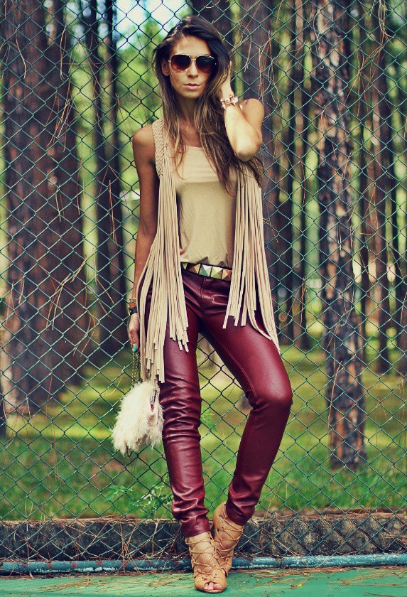 red leather pants women