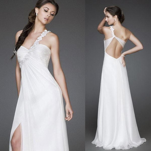 single strap wedding gown