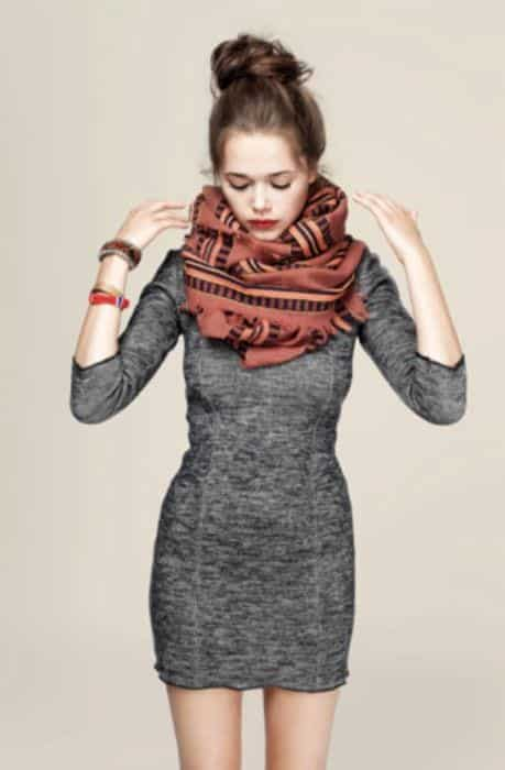 top-bun-with-scarf-outfit Outfits with Scarves-18 Chic Ways to Wear Scarves for Girls
