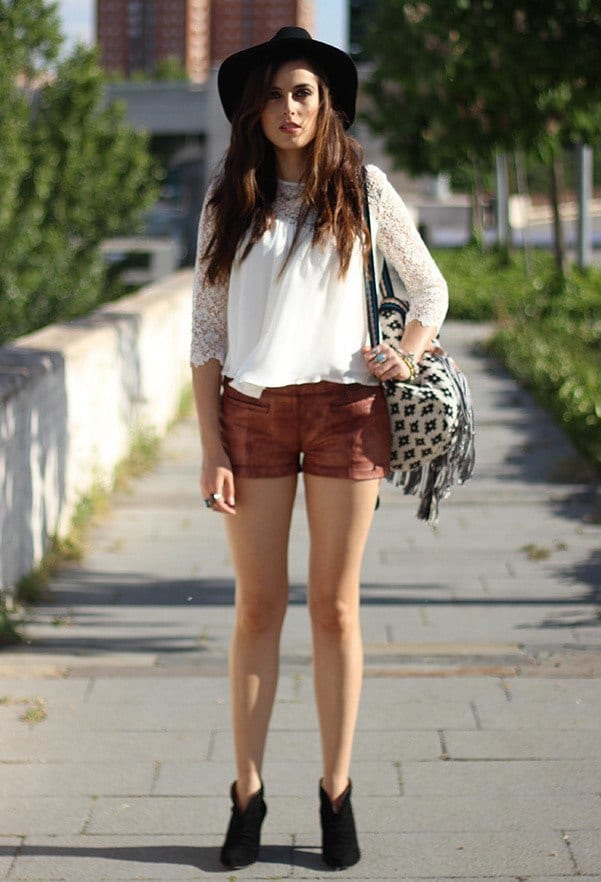 Brown-leather-shorts Cute Leather shorts outfits - 30 Ways to Wear Leather Shorts