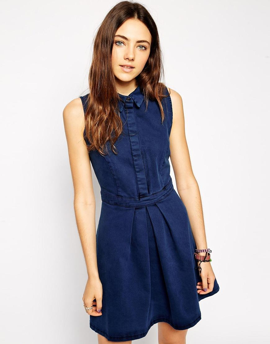 Dark-blue-denim-Dress 32 Beautiful Denim Dress to Inspire your daily Fashion