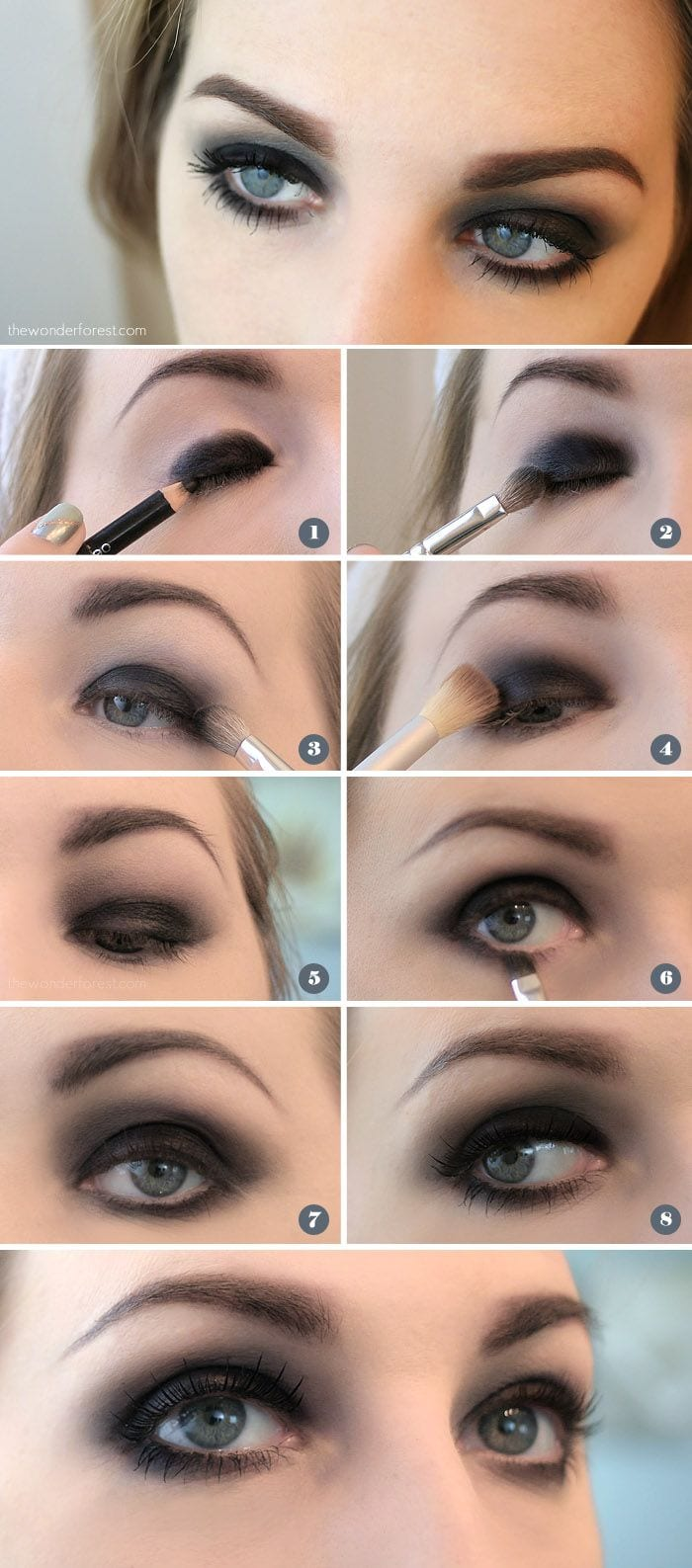 25 easy and dramatic smokey eye tutorials this season black smokey eye for green eyes tutorial no 21 baditri Gallery