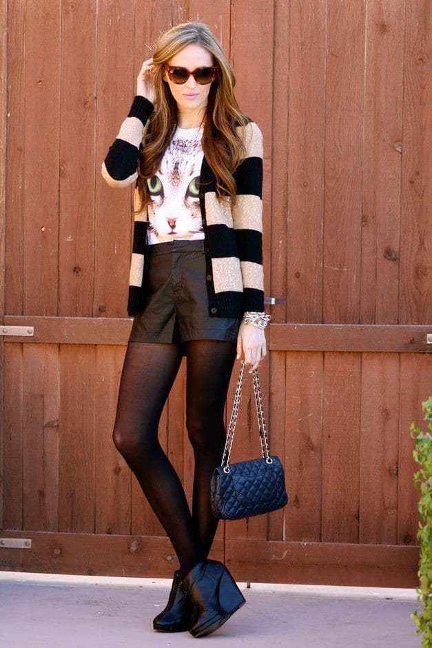 High-waist-black-leather-shorts Cute Leather shorts outfits - 30 Ways to Wear Leather Shorts