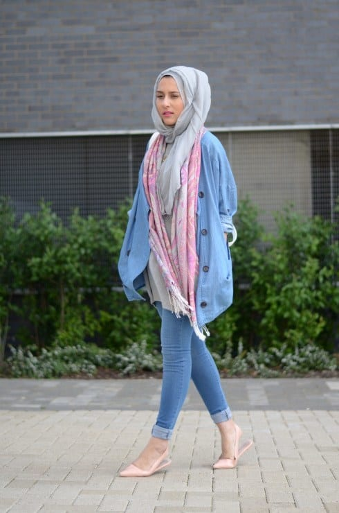 Hijab with denim pants