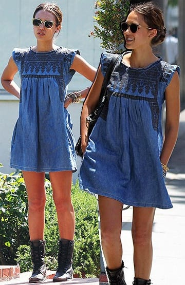 Jessica-Alba-Denim-Dress 32 Beautiful Denim Dress to Inspire your daily Fashion