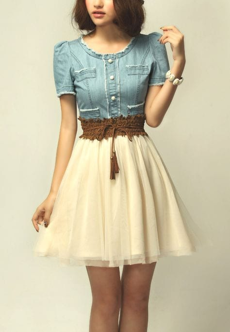 Lace Embroidery Denim Dress