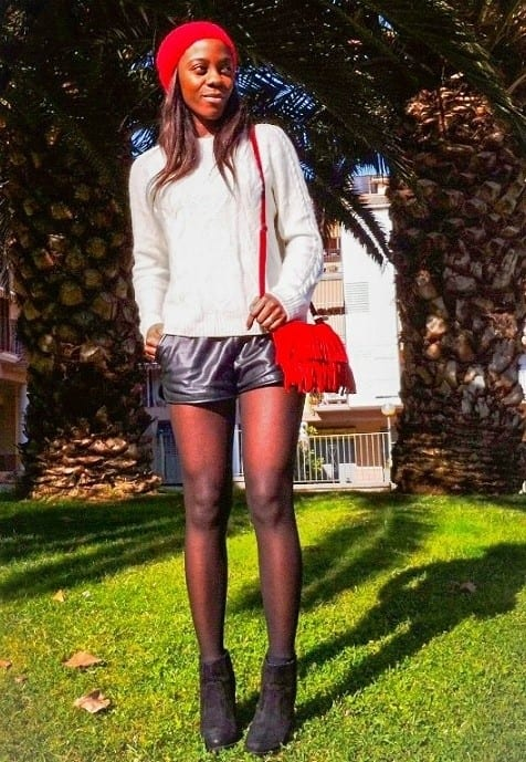 Leather shorts tall girl