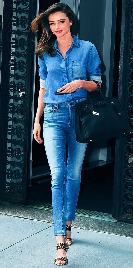 Miranda-Kerr-Denim-Dress 32 Beautiful Denim Dress to Inspire your daily Fashion