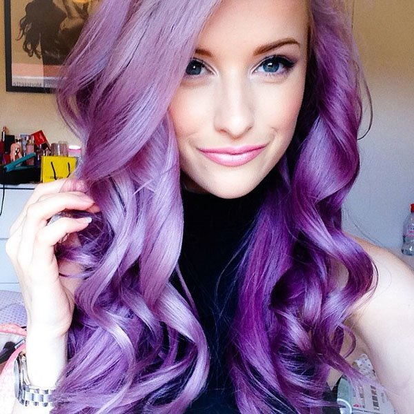 Purple-Curl-Hair Purple Hairstyles- These 50 Cute Purple Shade Hairstyles You Cant Resist Trying
