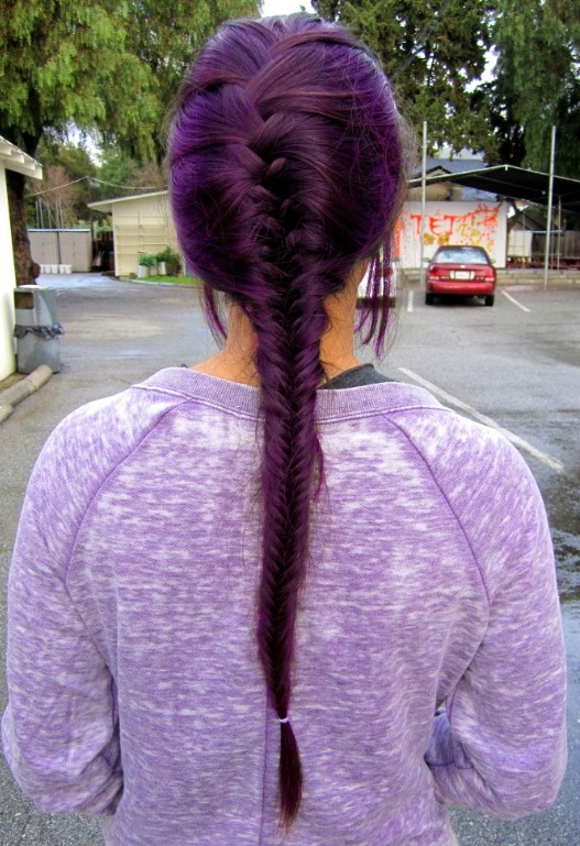 Purple-Fishtail-Braid Purple Hairstyles- These 50 Cute Purple Shade Hairstyles You Cant Resist Trying
