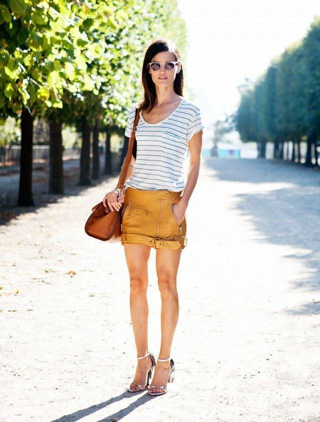 Yellow leather shorts
