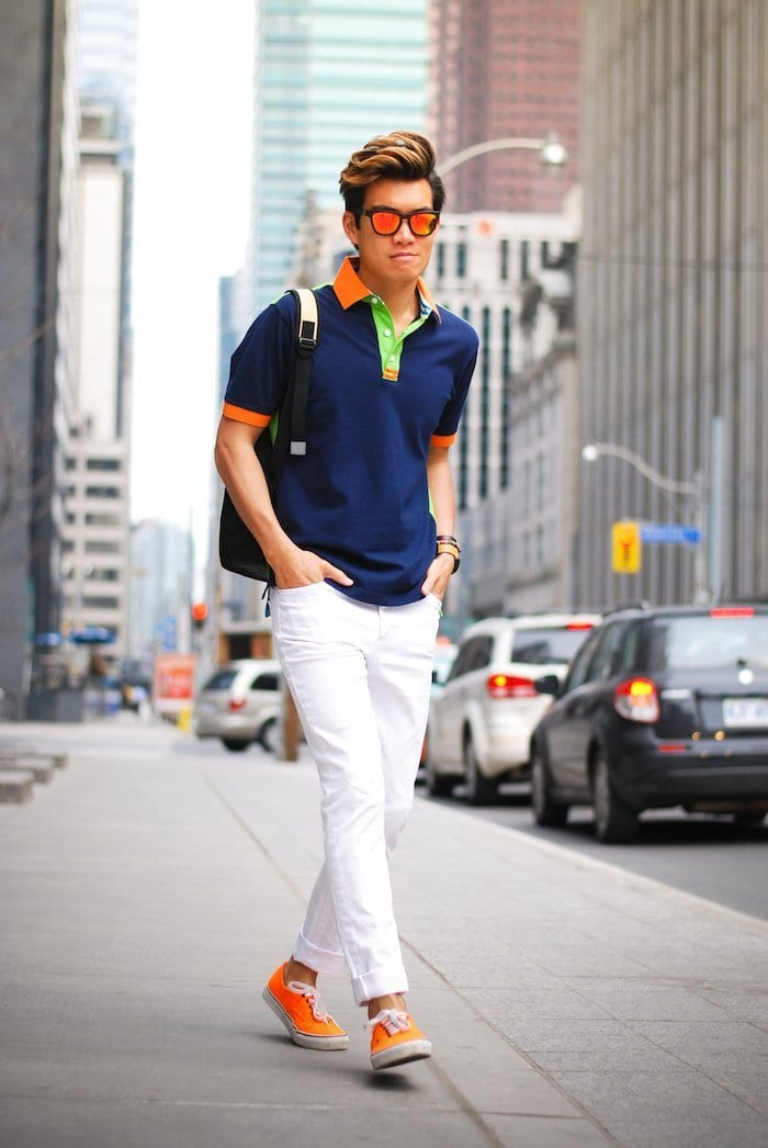 25 modern ways to wear polo shirts with other outfits for White t shirt outfit mens