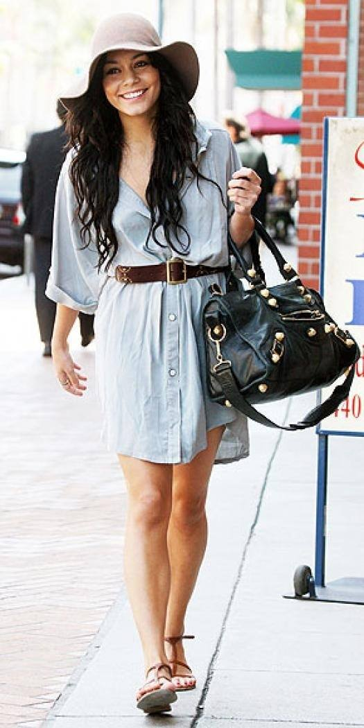 vannessa-hudgens-Stylish-Dress 32 Beautiful Denim Dress to Inspire your daily Fashion