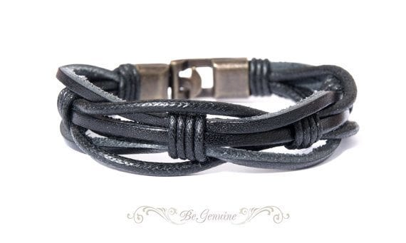 Black leather wrap men's bracelet