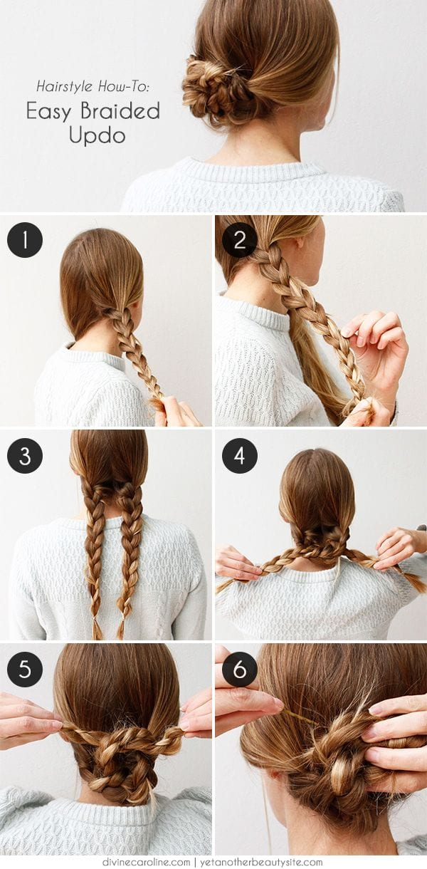 Easy-braided-Updos 20 Cute and Easy Braided Hairstyle Tutorials