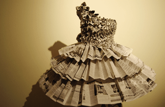 Gowns made from newspaper