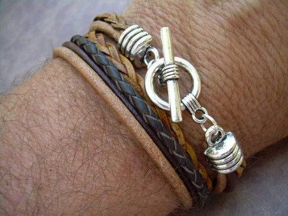 Handmade natural leather men's bracelet