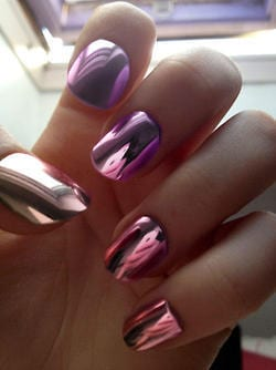 Metallic and mirror nail art